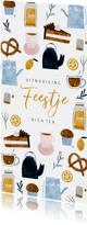 Uitnodiging High Tea langwerpig met vrolijke illustraties