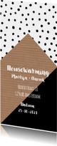 Uitnodiging housewarming grafisch zwart-wit huis en stippen