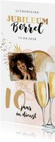 Uitnodiging jubileum 10 jaar ballonnen goud foto champagne
