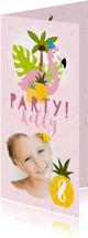Uitnodiging kinderfeestje flamingo's, ananassen & confetti
