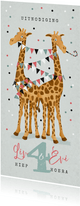 Uitnodiging kinderfeestje giraf tweeling confetti ballonnen