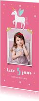 Uitnodiging kinderfeestje meisje eenhoorn met eigen foto