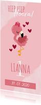 Uitnodiging kinderfeestje met flamingo, hartjes en waterverf