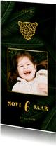 Uitnodiging kinderfeestje met foto en jungle bladeren