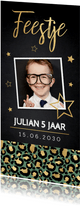 Uitnodiging kinderfeestje panterprint foto sterren goud