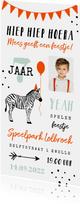 Uitnodiging kinderfeestje unisex zebra feestelijk