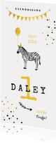 Uitnodiging kinderfeestje zebra ballon slinger goud geel