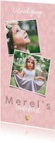 Uitnodiging lentefeest voor meisje met panterprint en hartje