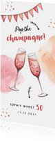 uitnodiging stijlvol met waterverf champagne en slingers