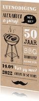 Uitnodiging tuinfeest/BBQ met illustraties op kraft papier
