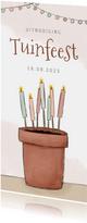 Uitnodiging tuinfeest illustratie bloempot met kaarsen