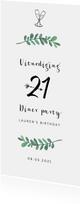 Uitnodiging verjaardag 21 diner stijlvol