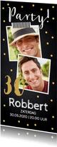 Uitnodiging verjaardag foto confetti krijtbord