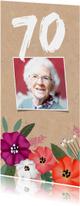 Uitnodiging verjaardag kraft met vrolijke bloemen en foto