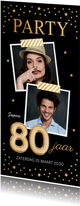 Uitnodiging verjaardag samen 80 jaar goud confetti