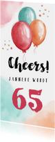 Uitnodiging verjaardag vrouw hip met waterverf ballonnen