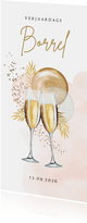 Uitnodiging verjaardagborrel champagne botanisch ballonnen