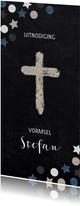 Uitnodiging vormsel christelijk symbool confetti krijtbord