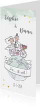 Uitnodigingskaart huwelijksfeest met bruidspaar op fiets