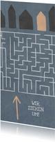 Umzugskarte Häuser mit Labyrinth