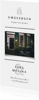 Umzugskarte in weiß mit Foto und einem kleinen Haus
