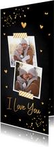 Valentijnskaart langwerpig foto goud confetti