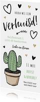 Verhuiskaart cactus met tekeningen en goudlook hartjes