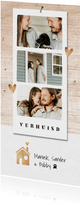 Verhuiskaart hip fotocollage goudlook hout huisje