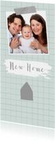 Verhuiskaart hip ruitpatroon foto huisje