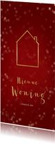 Verhuiskaart kerst langwerpig met huisje - Een gouden kerst