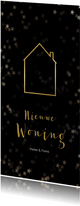 Verhuiskaart kerst langwerpig zwart met huis van goud