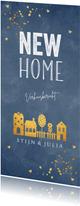 Verhuiskaart langwerpig blauw goudlook huisjes