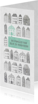 Verhuiskaart langwerpig met geïllustreerde huisjes