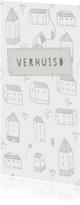 Verhuiskaart langwerpig met huisjes, bloemetjes en een label