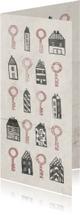 Verhuiskaart langwerpig met huisjes en sleutels