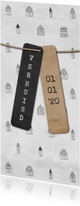 Verhuiskaart langwerpig met labels en huisjes patroon