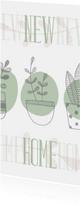 Verhuiskaart langwerpig 'NEW HOME' botanische stijl