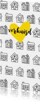 Verhuiskaart met getekende zwart-witte huisjes