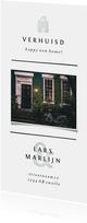 Verhuiskaart met lijnen, foto en lichtgroene accenten