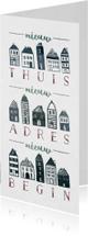 Verhuiskaart 'Nieuw Begin' langwerpig met huisjes