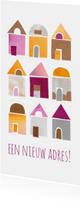 Verhuiskaarten - Verhuiskaart papiercollage huisjes