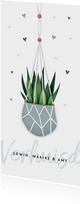 Verhuiskaart verhuisd macrame plant en hartjes