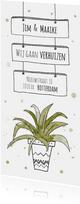 Verhuiskaart voor nieuw adres met hippe kamerplant