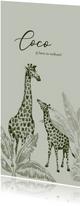 Vintage jungle geboortekaartje handgetekend giraffe kleintje