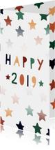 Vrolijke nieuwjaarskaart met gekleurde sterren