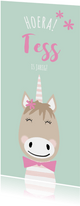 Vrolijke uitnodiging kinderfeestje meisje unicorn
