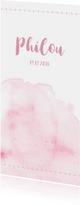 Watercolor geboortekaartje in het roze