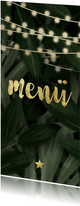 Weichnachts-Menükarte mit Dschungel Blättern und Lichtern