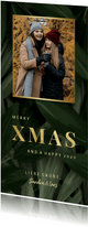 Weihnachtskarte botanisch mit Goldschrift und Foto