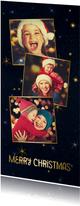 Weihnachtskarte dunkelblau Fotocollage & Sterne